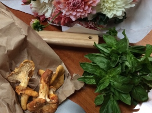 Pike Place Market loot: yellow chanterelles, basil and dahlias