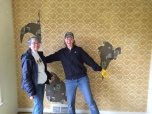 Ma and I beginning wallpaper removal. We're still smiling, so you can tell this was our first day on wallpaper.